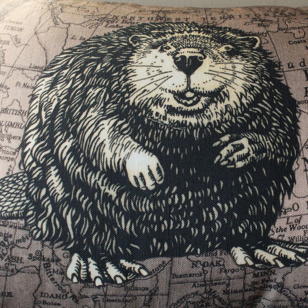 Wildlife Drawing and Map Pillowcase and Pillow - Cheeky Beaver on 1947 Dominion of Canada Map
