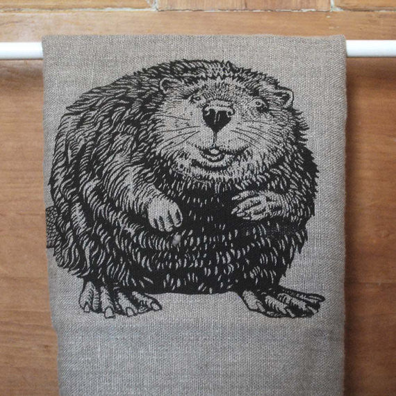 Wildlife Illustration Linen Tea Towel - Cheeky Beaver