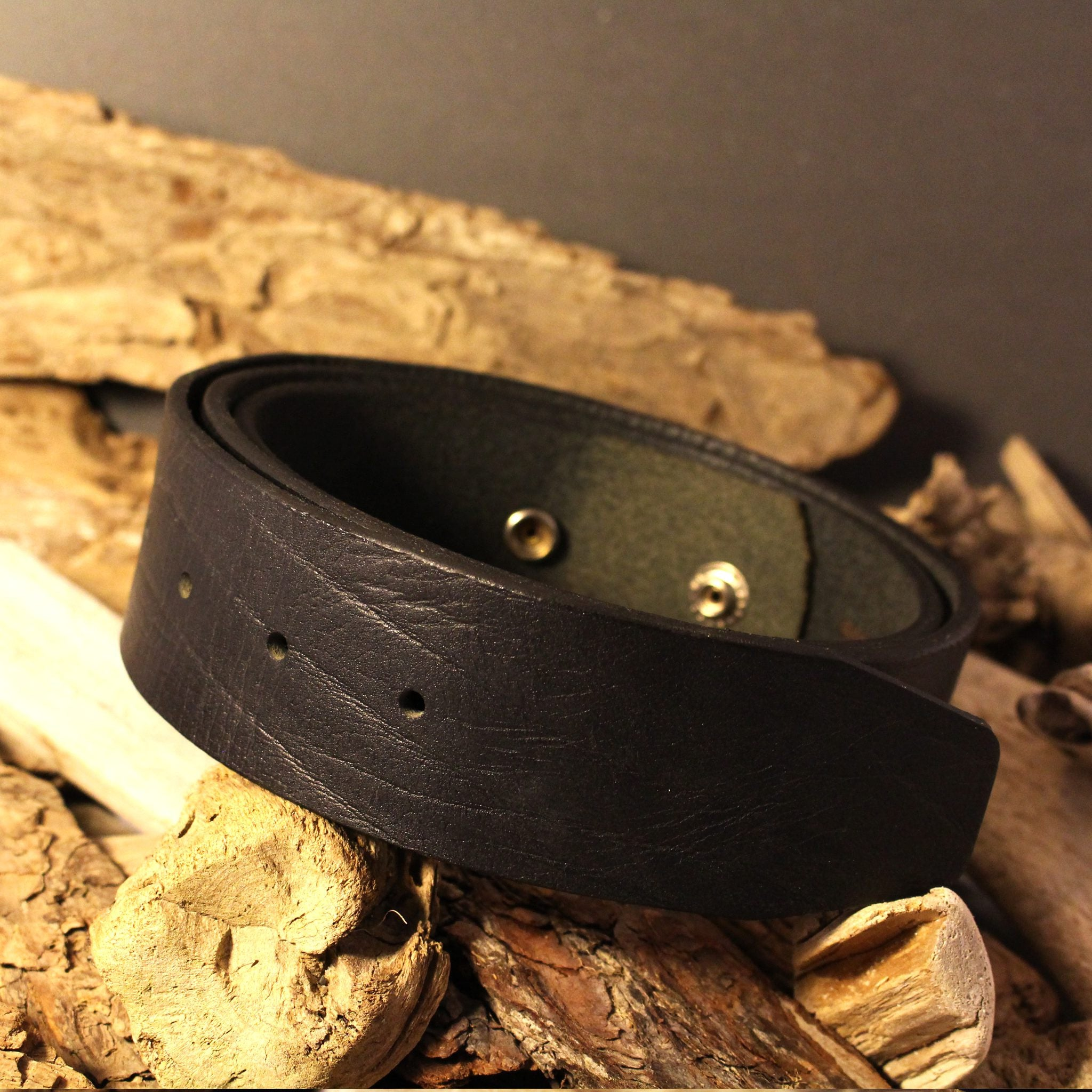 Leather Snap Belt for Buckles - Black