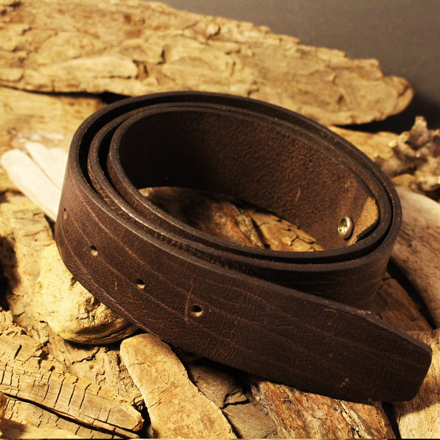 Leather Snap Belt for Buckles - Brown (small only)