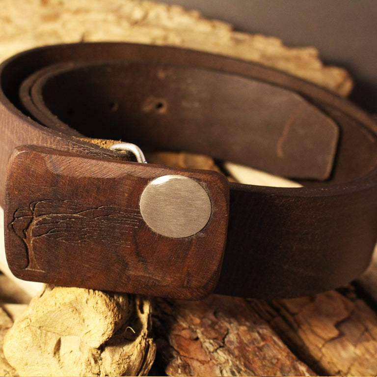 Leather Snap Belt for Buckles - Brown