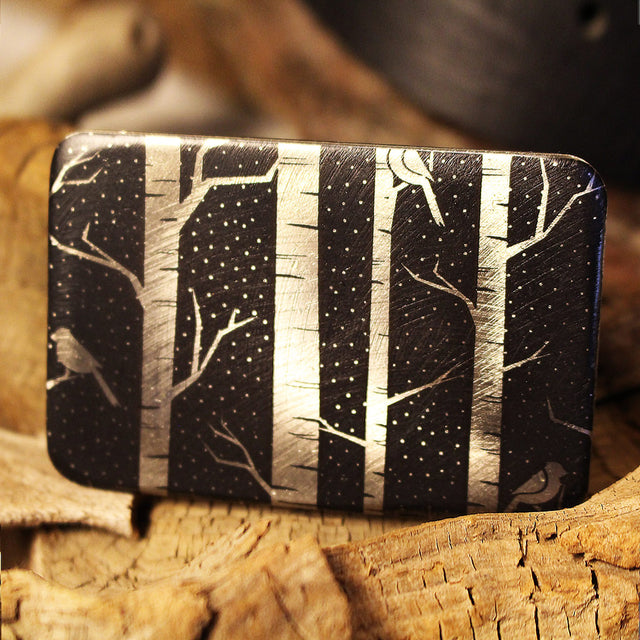 Etched Steel Belt Buckle - Birch Tree