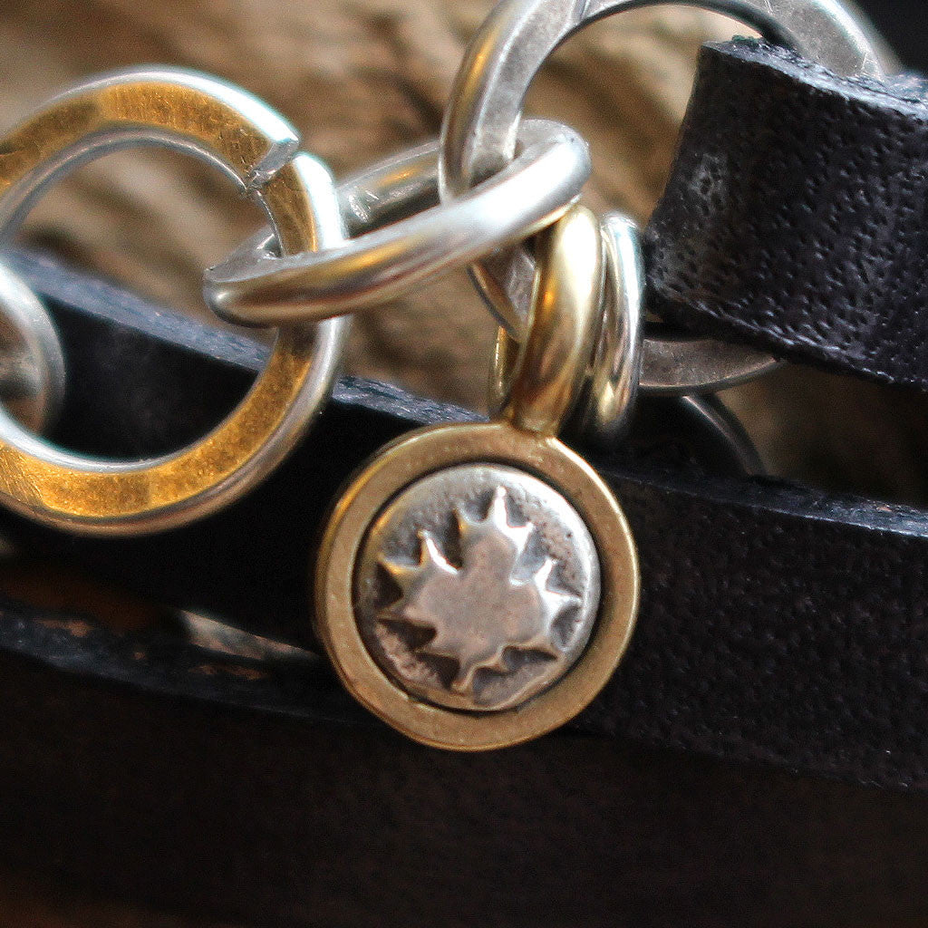 """The Cottage"" Sterling Silver Charms Leather Bracelet - In Celebration of Canada's 150th"