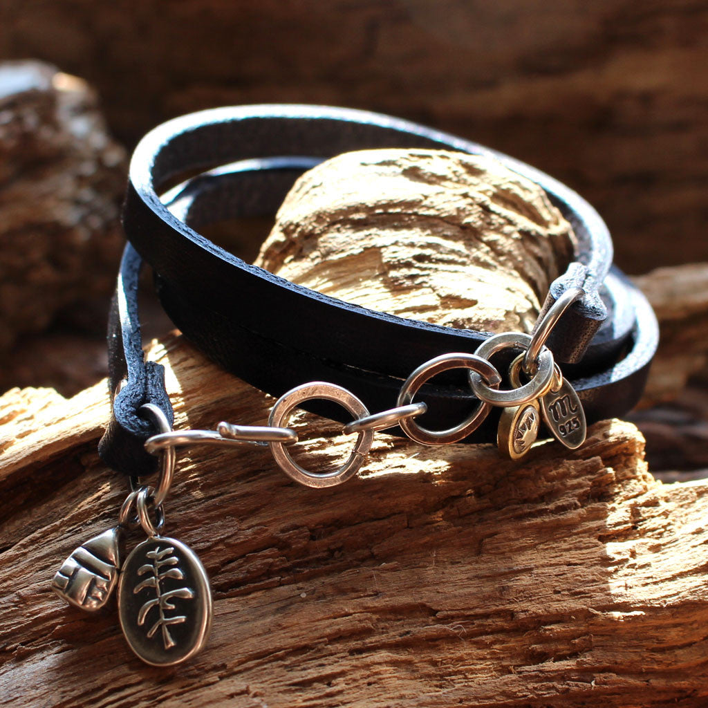 """The Cottage"" Sterling Silver Charms Leather Bracelet - Celebrating Canada's 150"