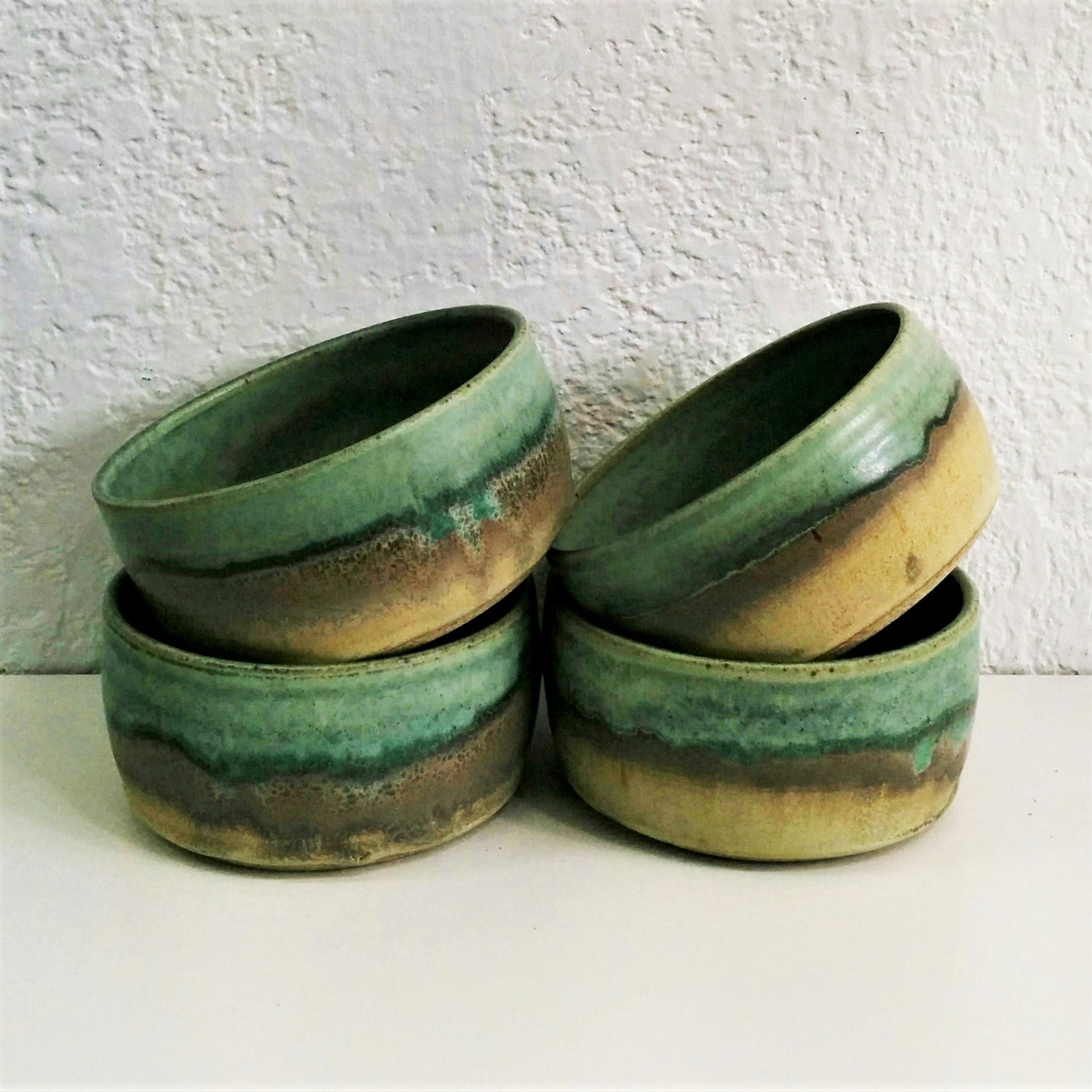 Pottery Dessert/Breakfast Bowl - Toast and Turquoise