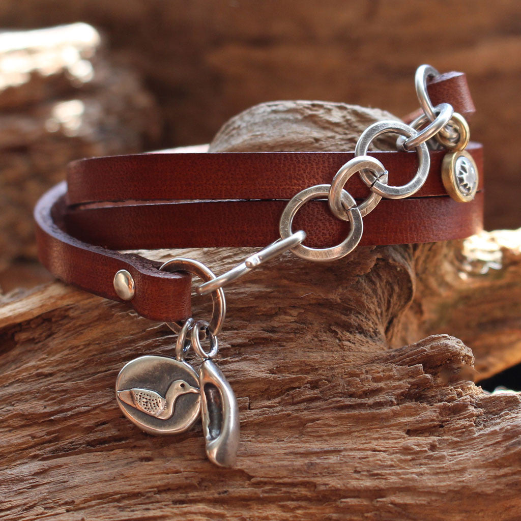 """On the Lake"" Sterling Silver Charms Leather Bracelet - In Celebration of Canada's 150th"