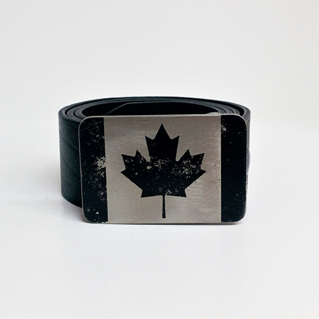 etched steel belt buckle of the Canadian Flag
