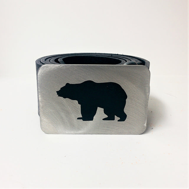 Etched Steel Belt Buckle - Bear