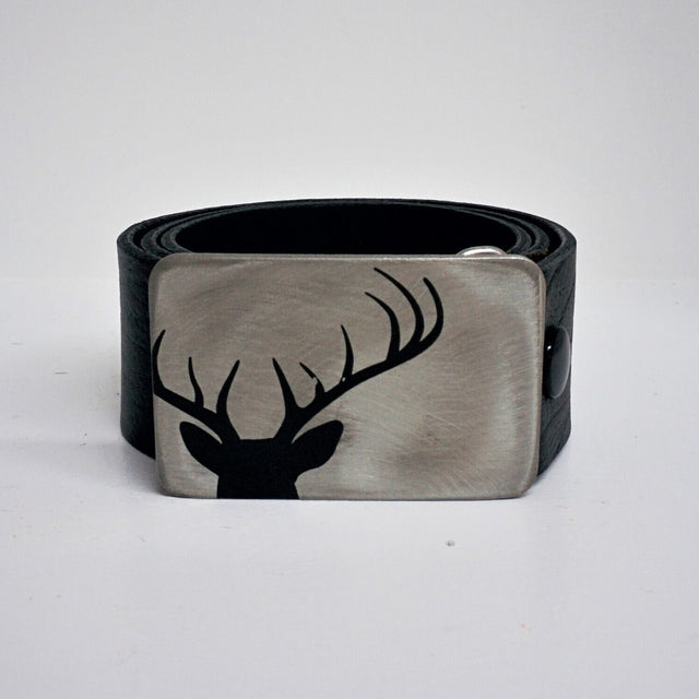 Etched Steel Belt Buckle - Deer Head Silhouette