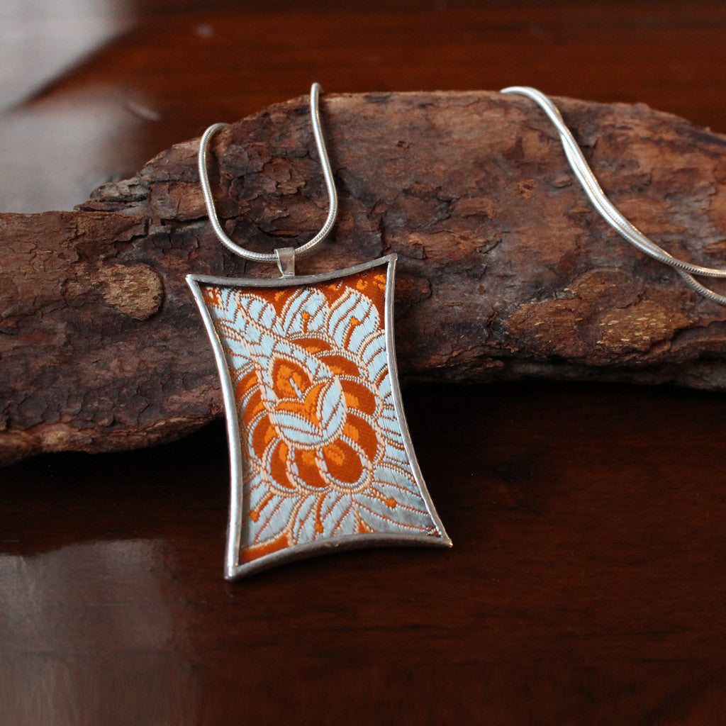 Flower Buttress Necklace - Orange and Grey Floral