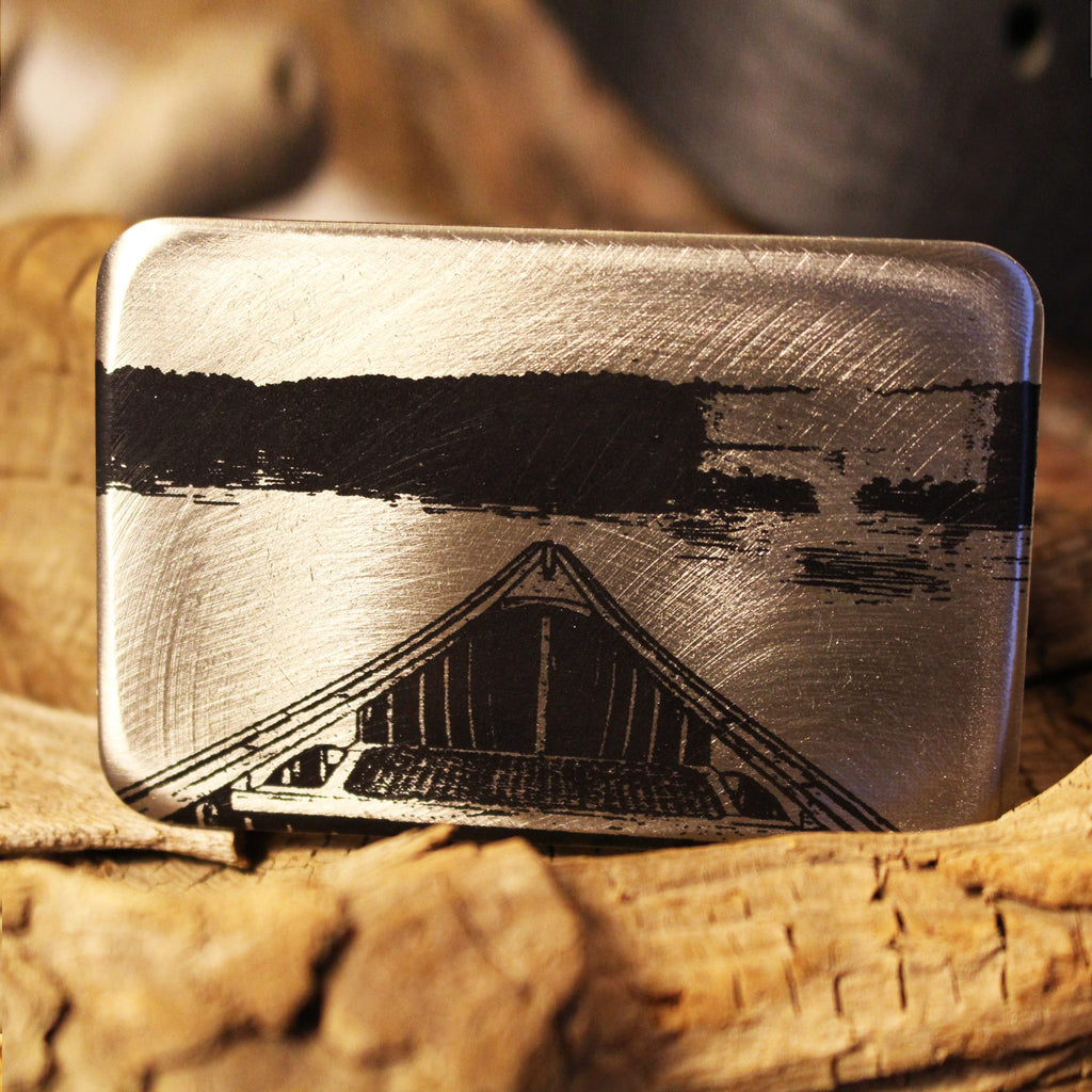 Etched Steel Belt Buckle - Bow of Canoe Pointed to Shoreline