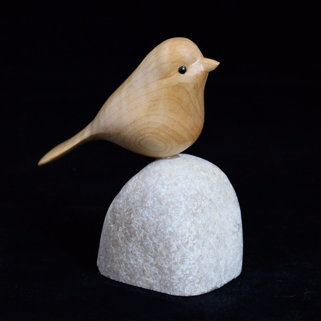 Hand Carved Bird Perched on Stone - Cherry, Spruce or Walnut Sparrow
