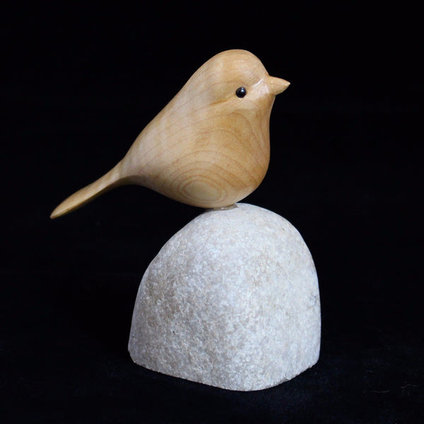Hand carved bird unique wooden sparrow by canadian