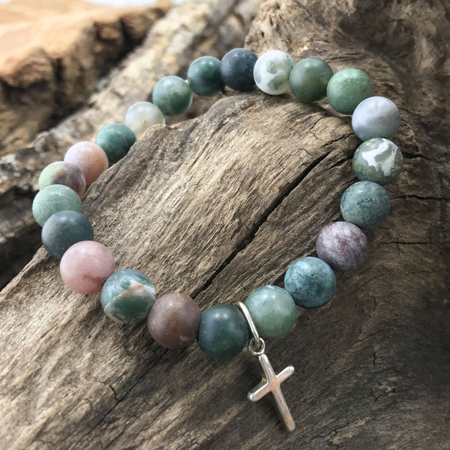 Stone Bracelet - Indian Agate with Sterling Silver Cross Charm