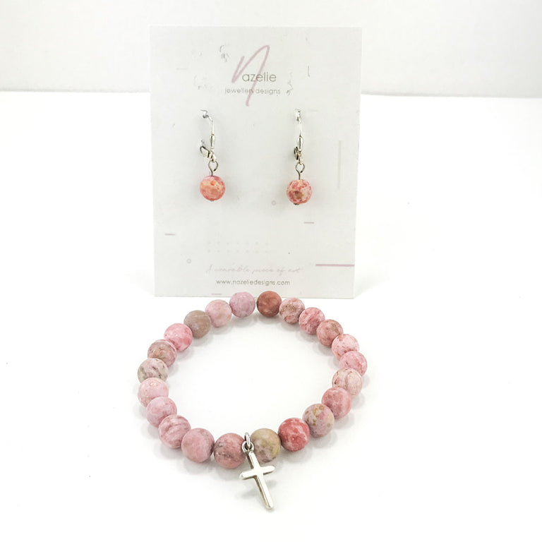 Stone Bracelet - Pink Agate with Sterling Silver Cross Charm