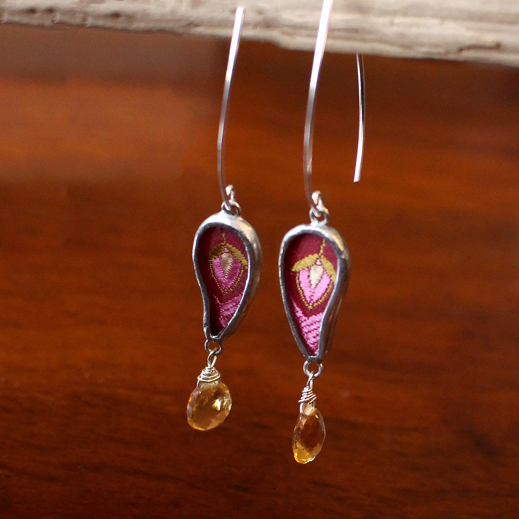 Silver Earrings with Citrine Drop and Silk Embroidery