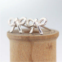 Sculpted Sterling Silver Earrings - Bow