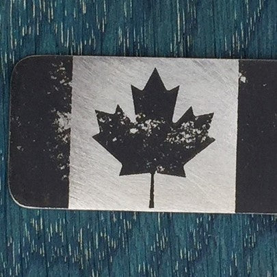 Etched-Steel Pendant - Canadian Flag