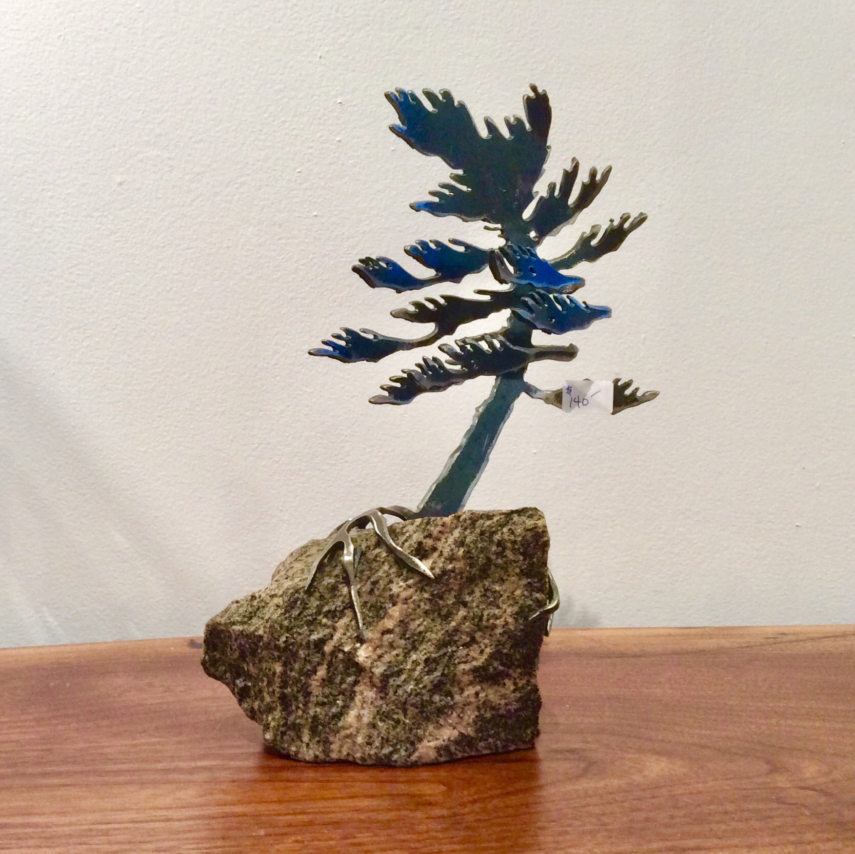 Cut-Steel Sculpture 140 - Tree on Granite
