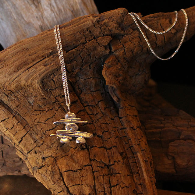 Inukshuk (large) Sterling Silver Necklace