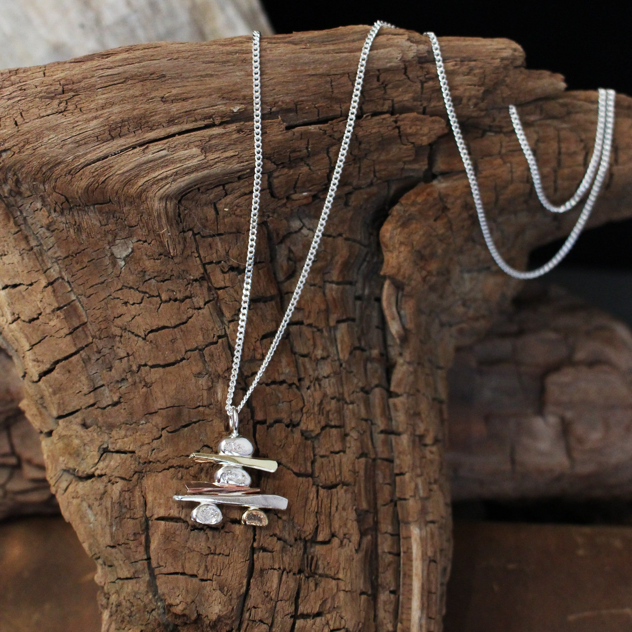 Inukshuk Handmade Sterling Silver and Gold Necklace