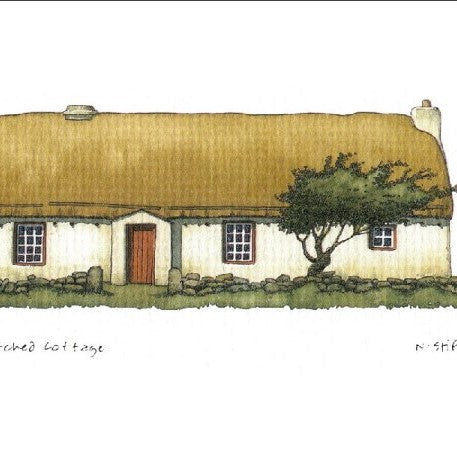 Framed Irish Print - Thatched Cottage with Red Door