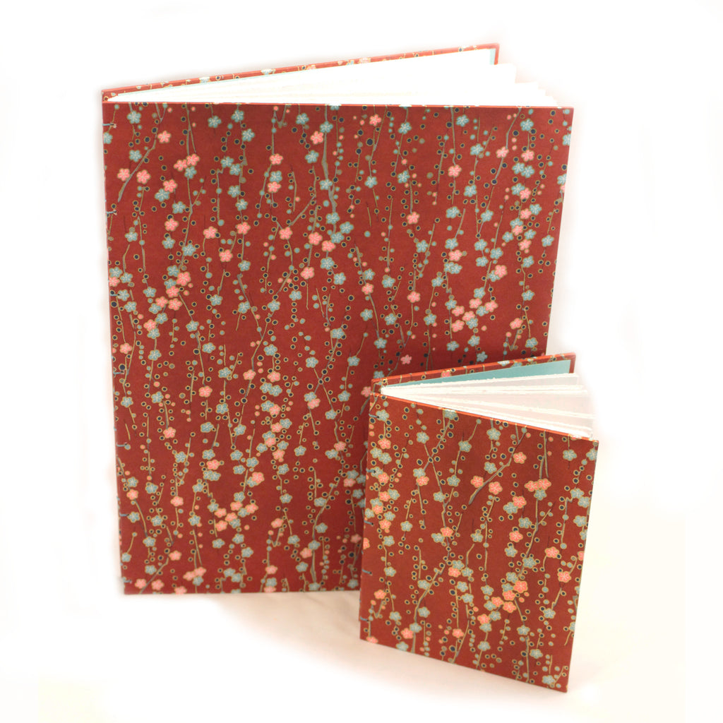 Large Sketch Book or Journal - Japanese Silk-screened Paper - Red