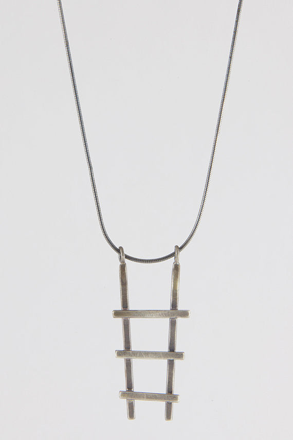 Oxidized Silver Ladder Necklace