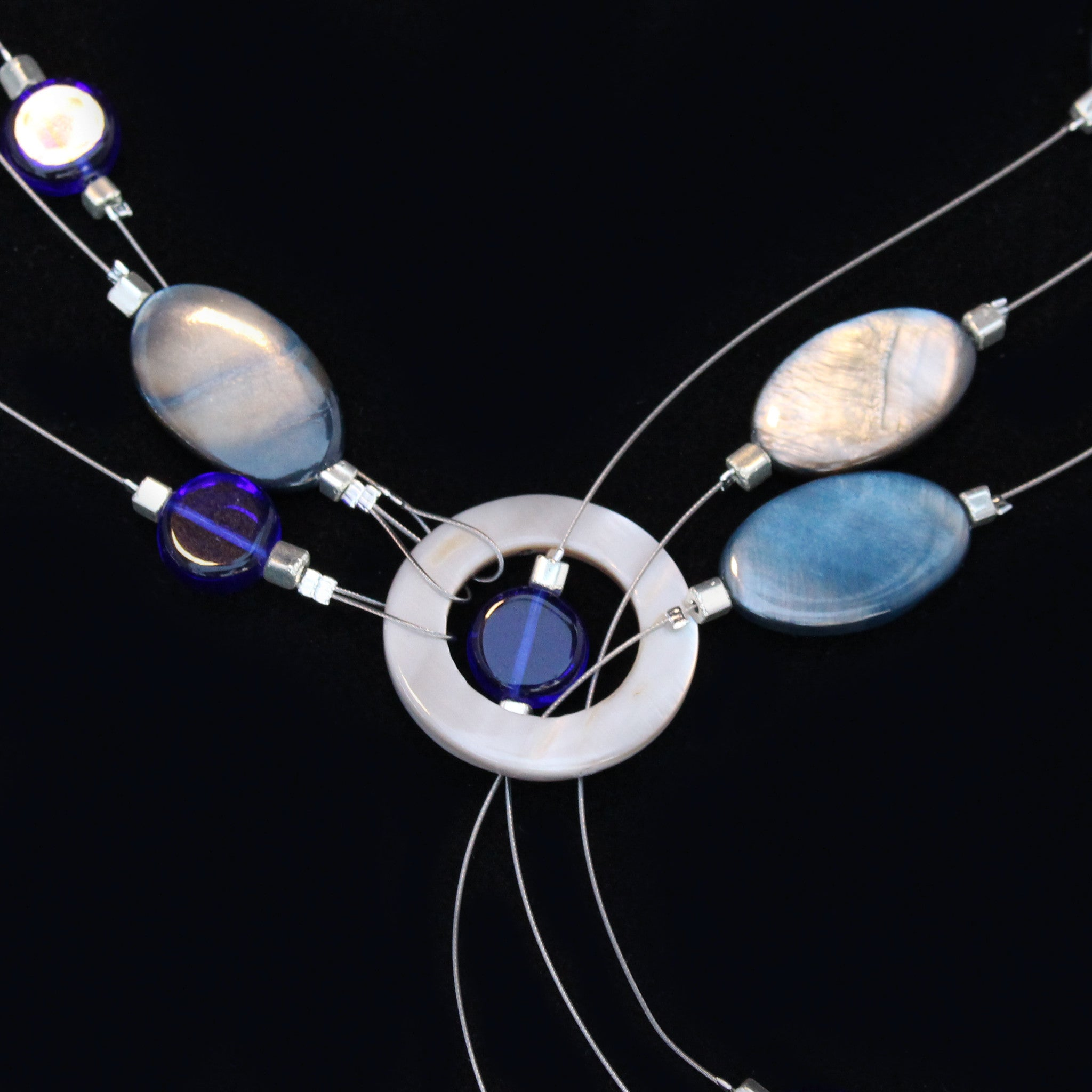 Shell & Bead Multi-Strand Lariat Necklace - Blue - Save 50%