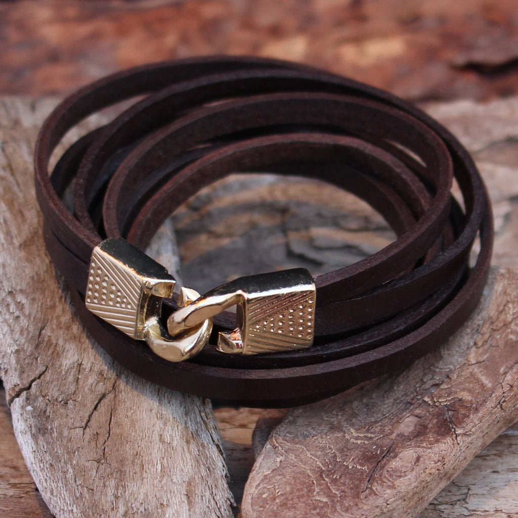 Leather Wrap Bracelet - Brown - Large - Save 40%