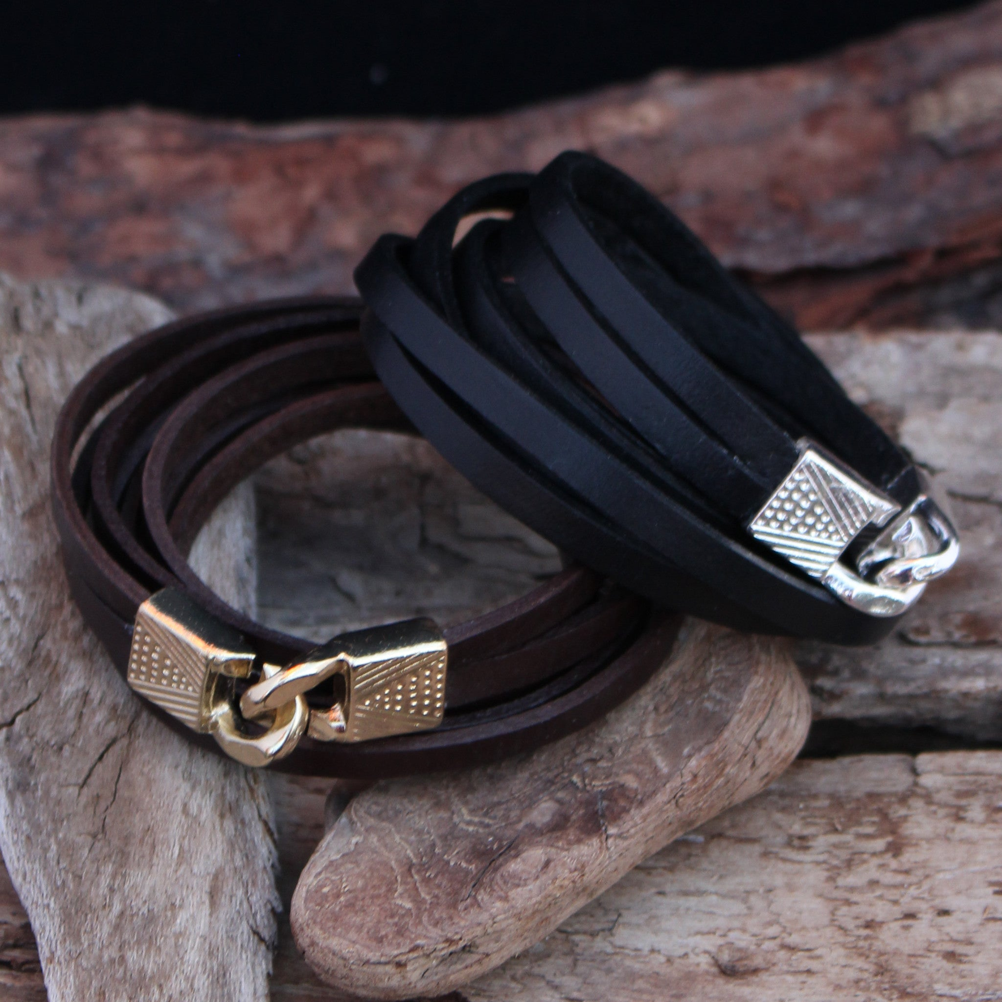 Leather Wrap Bracelet - Brown - small to medium - Save 40%