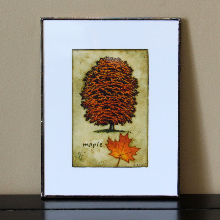 Framed Elm Tree with Leaf Print