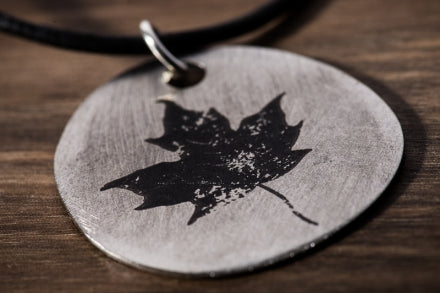 Etched-Steel Pendant - Maple Leaf