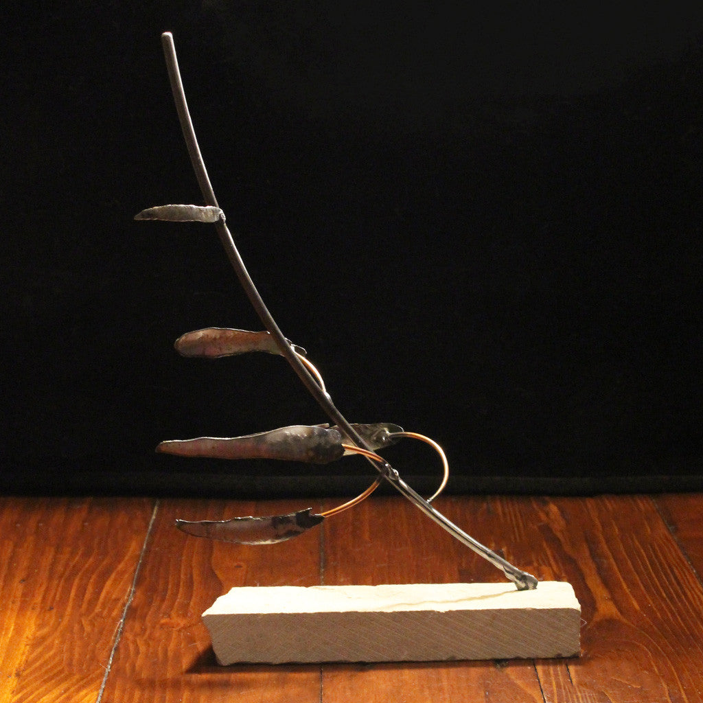 Metal Tree Sculpture with Cut Stone Base - Resilience Series