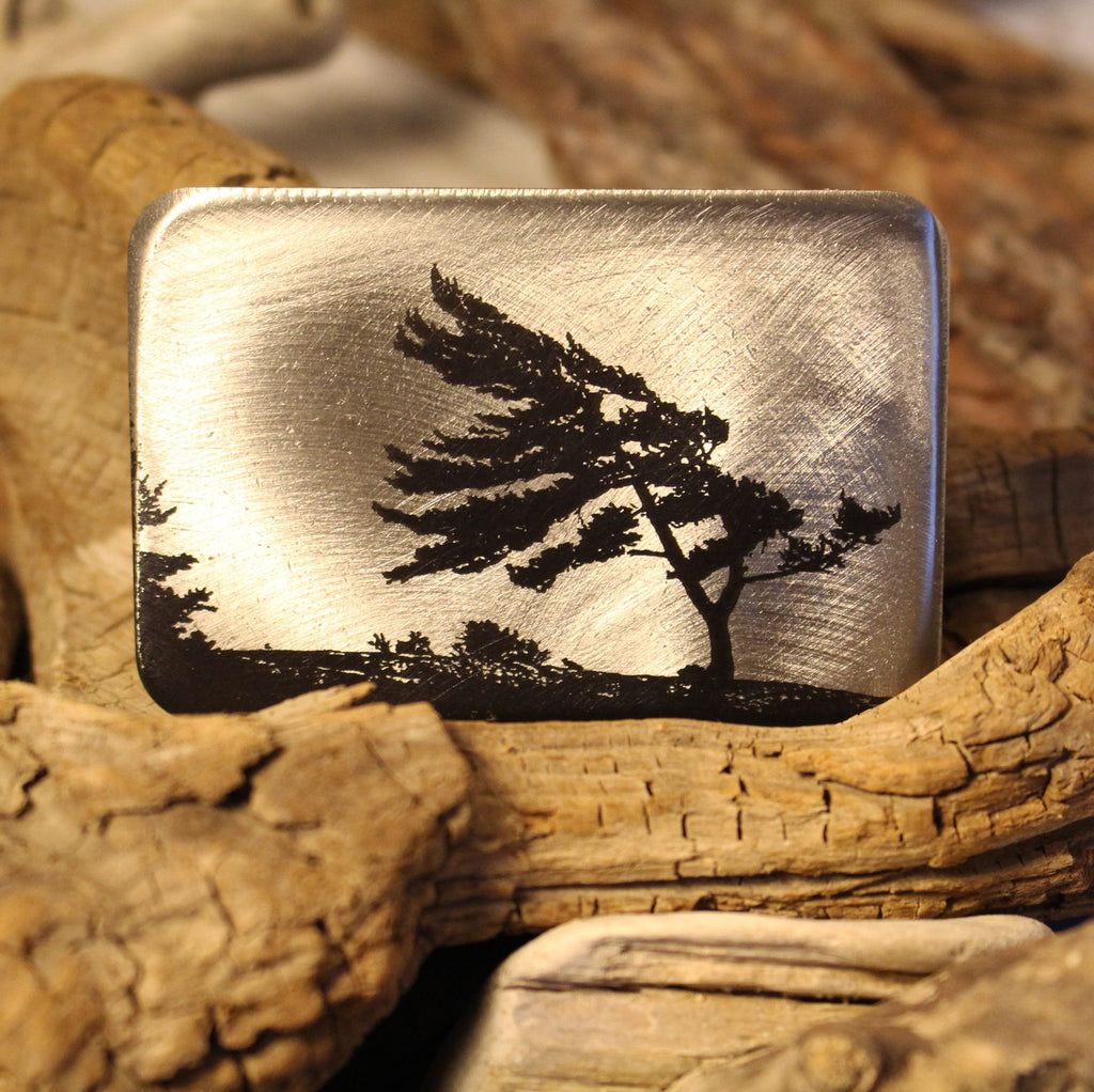 Etched Steel Belt Buckle - Muskoka Tree