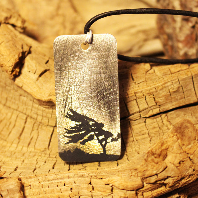 Etched Steel Pendant - Muskoka Tree