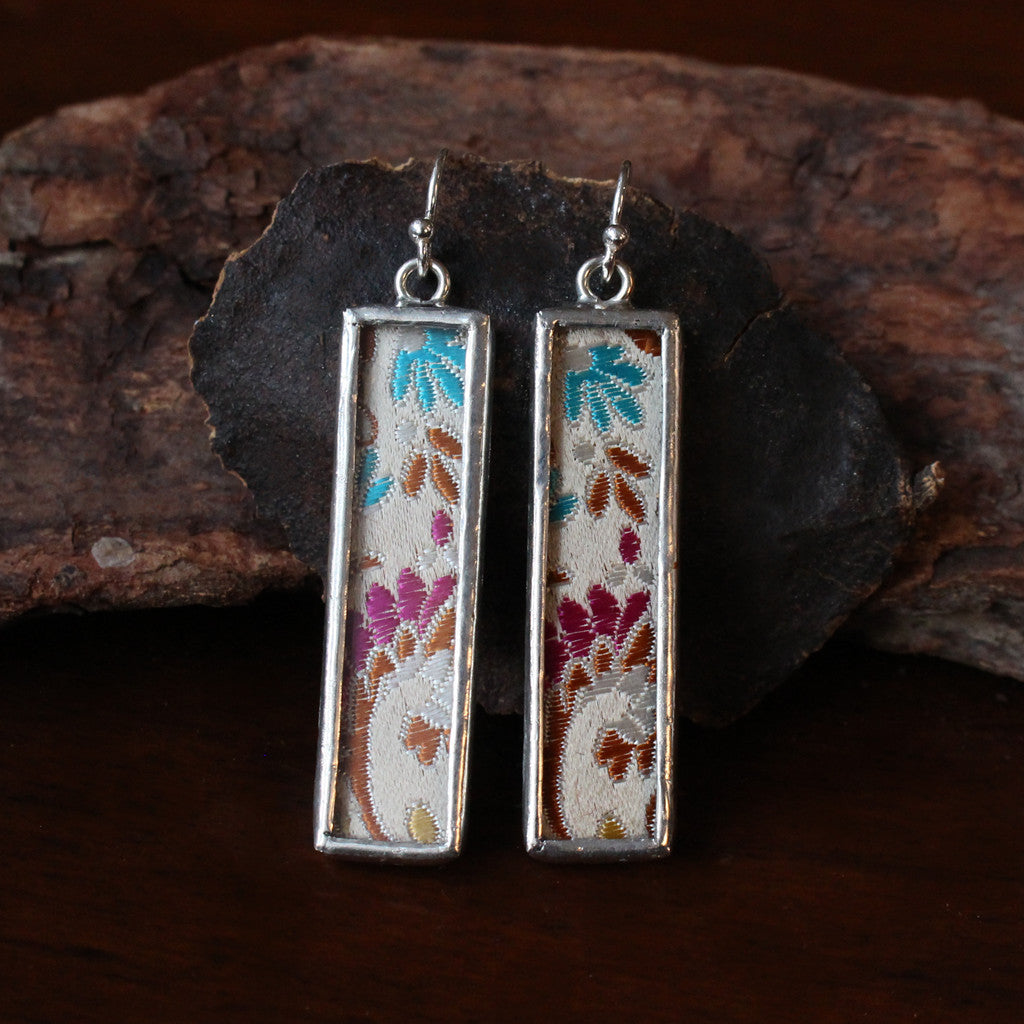 Framed Chinese Silk Earrings - Pink and Blue Blossoms on Cream Silk