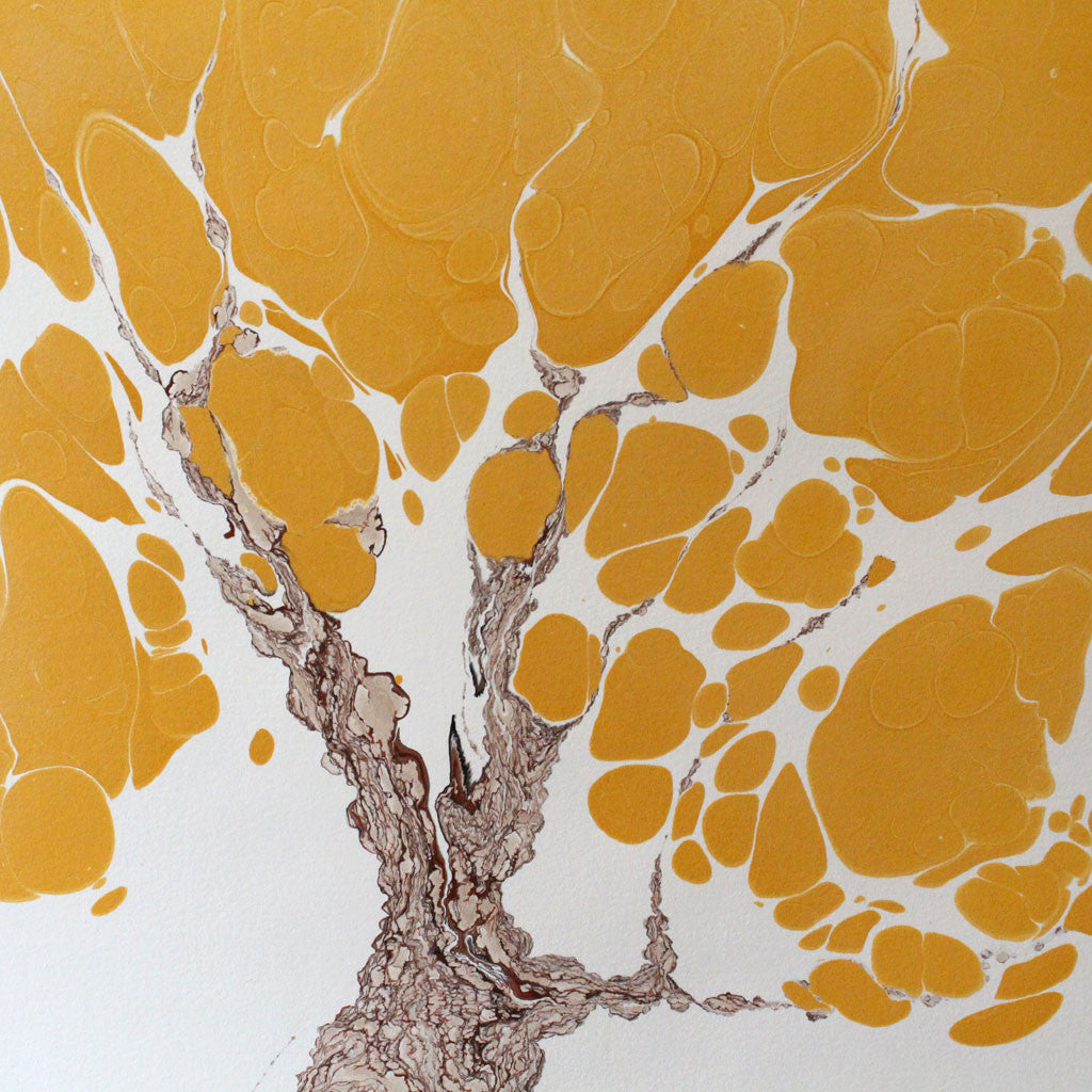 "Framed Marbled Graphic - ""Gingko"""