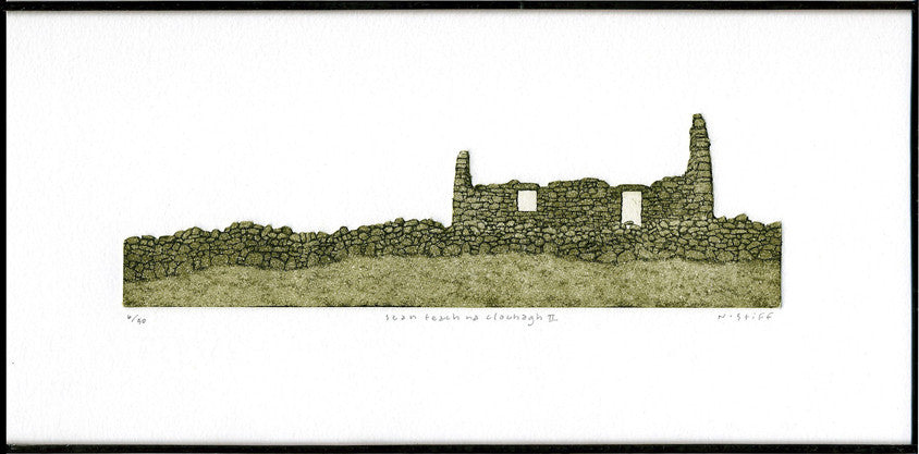 Framed Limited-Edition Etching - sean teach na clochagh II (old house of stones)