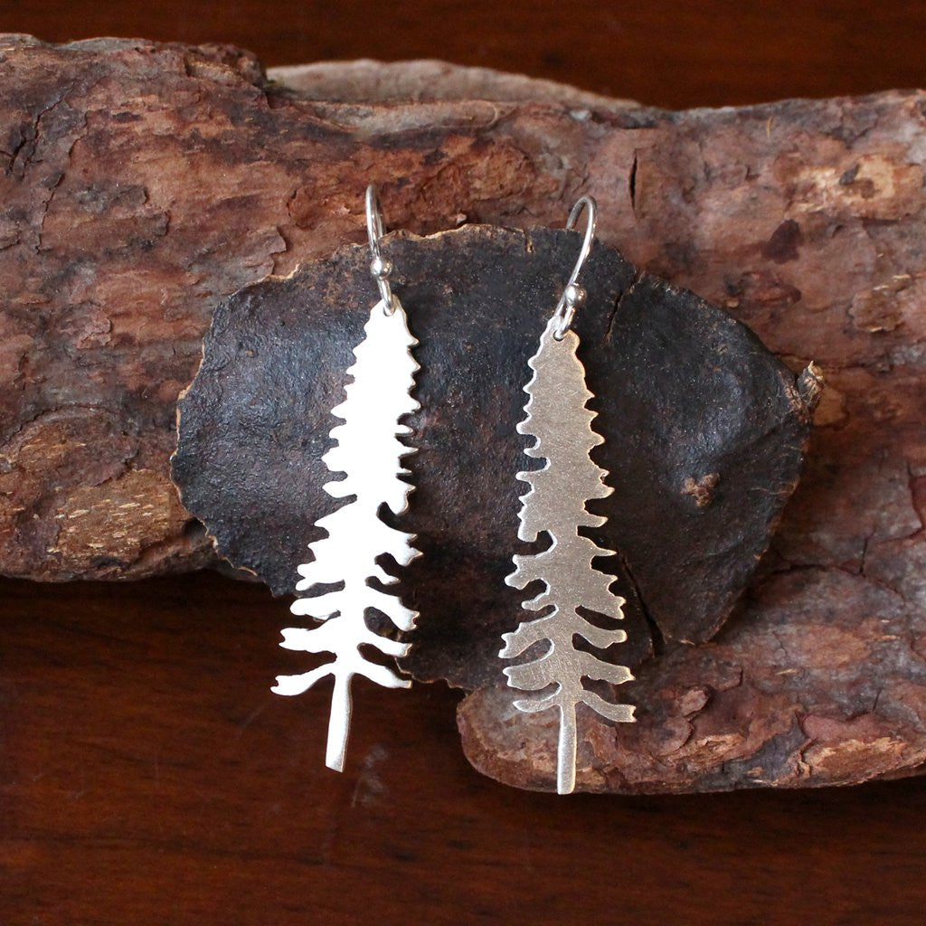 Handcut Sterling Silver Spruce Tree Earrings