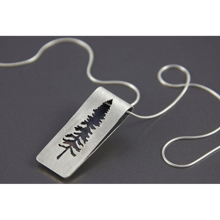 Sterling Silver Spruce Tree Folded Necklace