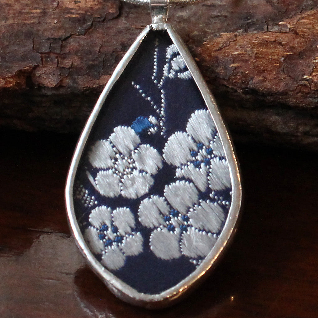 Silk and Sterling Silver Teardrop Necklace - Grey Blossoms on Blue Silk