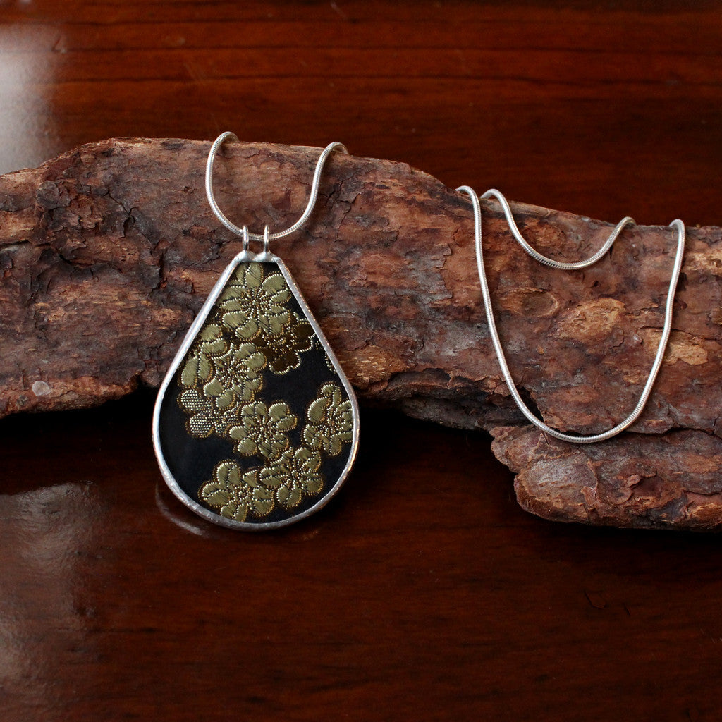 Silk Brocade and Sterling Silver Teardrop Necklace