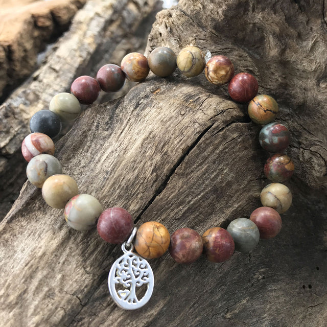 Stone Bracelet - Picasso Jasper with Tree of Life in Circle Charm