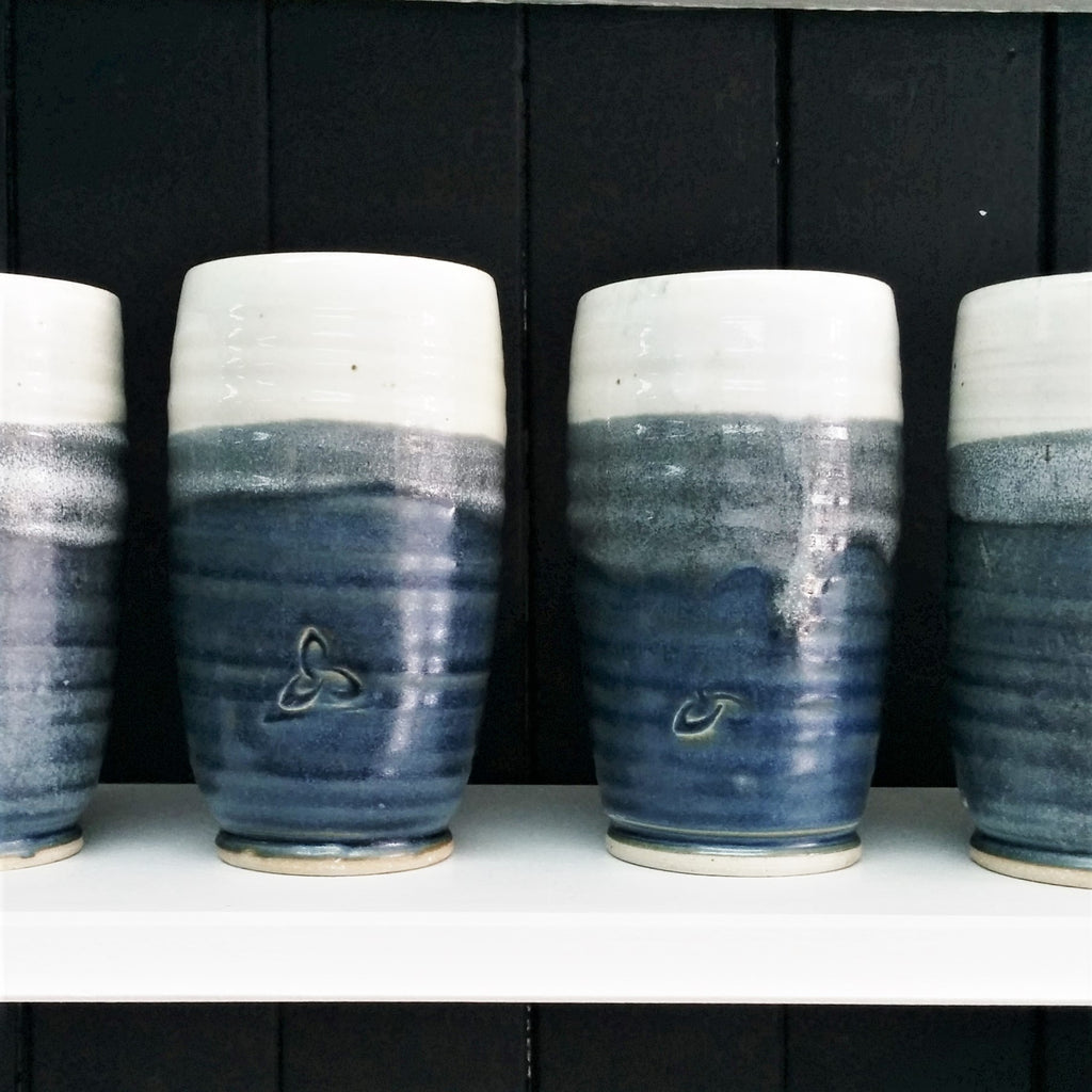 Pottery Tumblers - Set of Two - Navy Blue and White