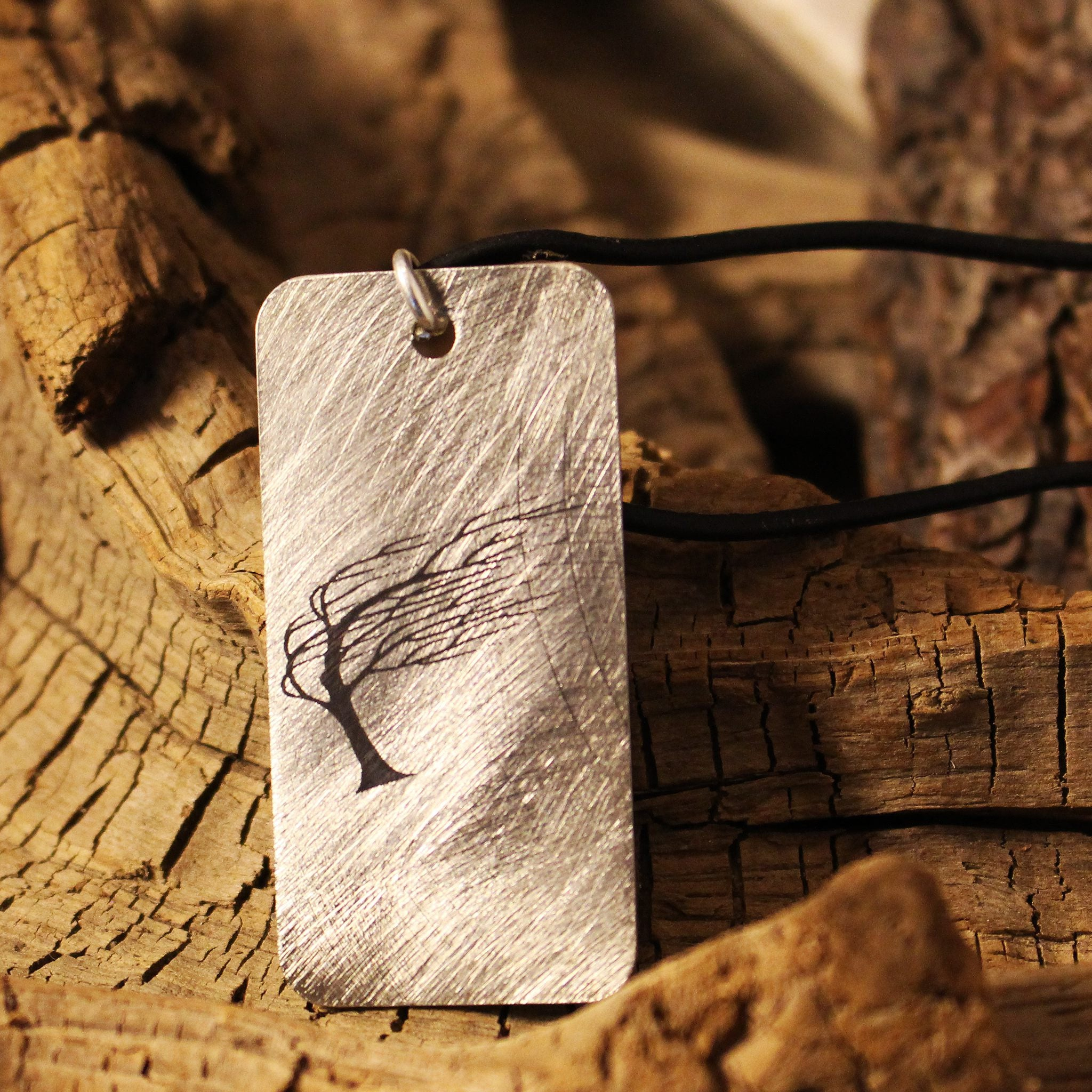 Etched Steel Pendant - Windswept Tree
