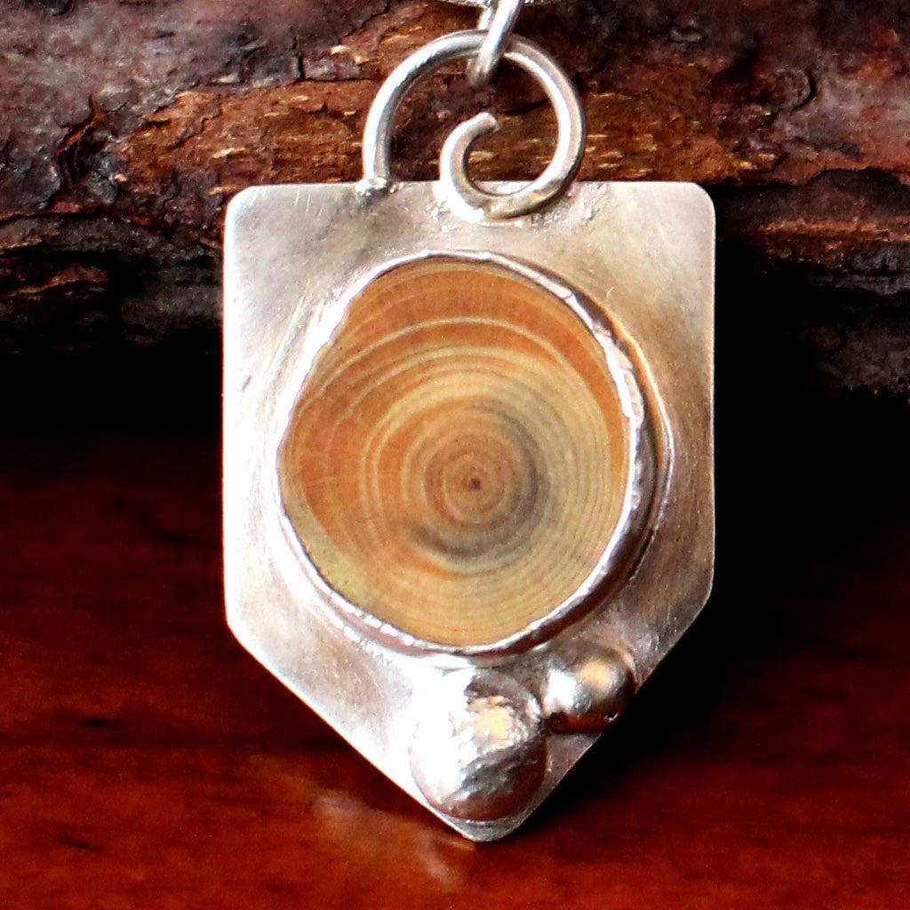 Sterling Silver Wood Slice Necklace