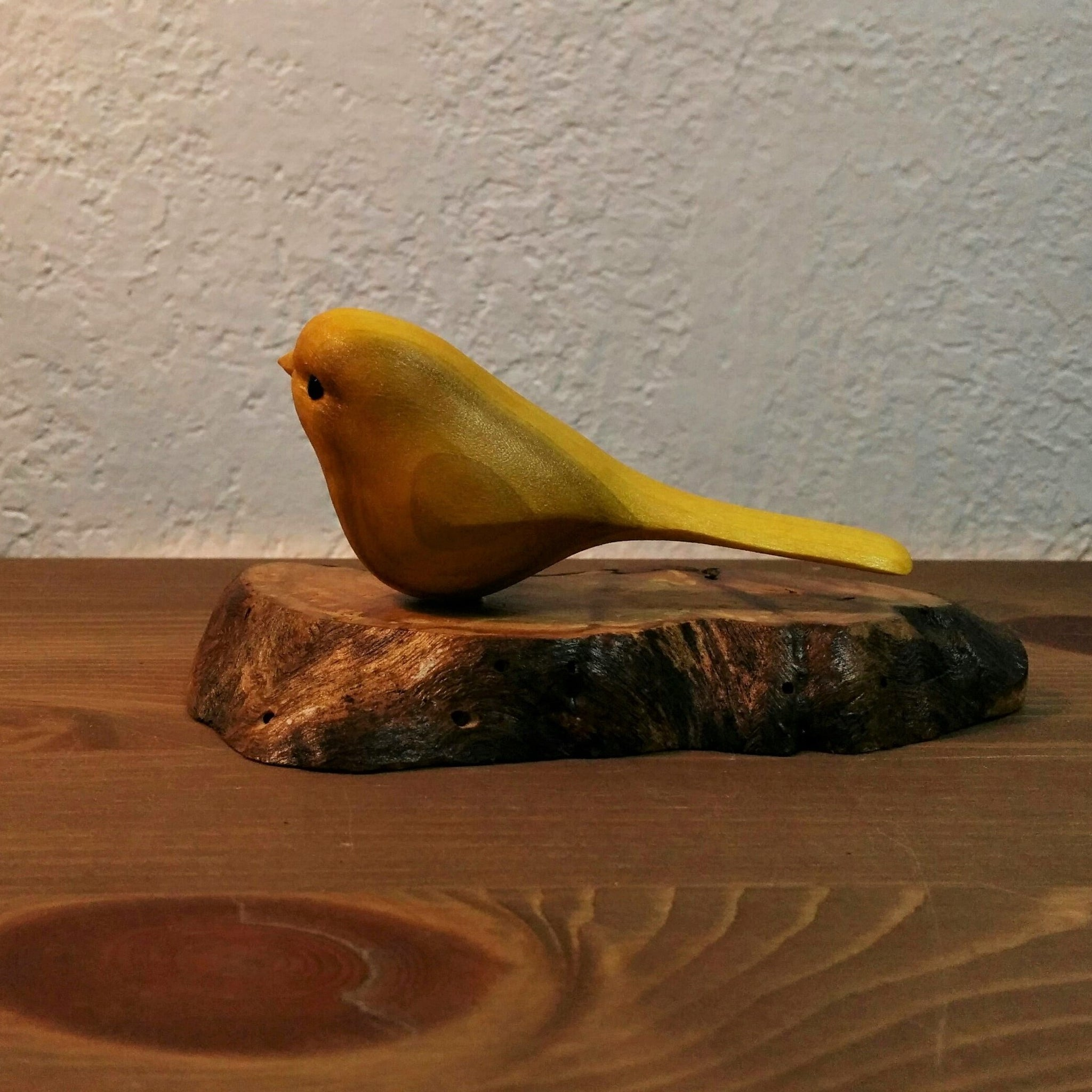Hand Carved Bird - Yellow bird on wooden base