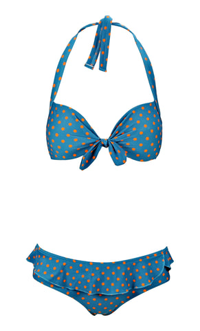 Marilyn Vintage Blue and Orange Polkadot Bikini