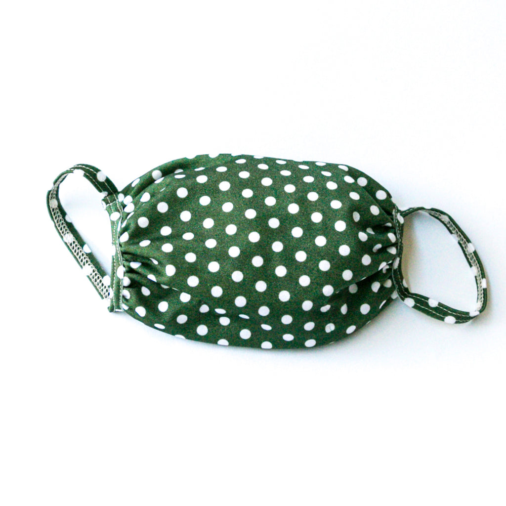 Fabric Face Mask Green Polka